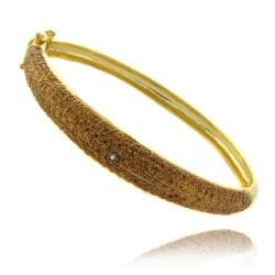 Finesque 14k Gold Overlay Brown Diamond Accent Bangle Bracelet