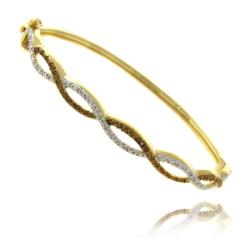 Finesque 14k Gold Overlay Brown Diamond Accent Infinity Bangle Bracelet