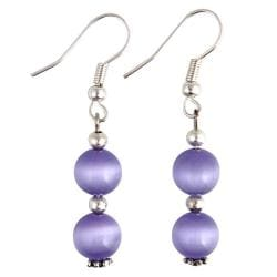 Purple / White Fusion Glass Earrings (Thailand)