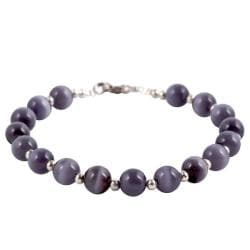 Grey/ White Fusion Glass Bead Bracelet (Thailand)