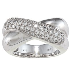 18k White Gold 1-1/2ct TDW Crossover Ring (G-H, S1-SI2)