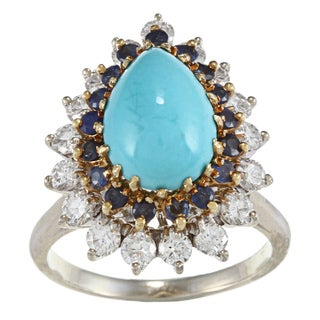 14k White Gold 4/5ct TDW Turquoise Cocktail Ring (H-I, SI1-SI2)