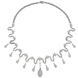 14k White Gold 10ct TDW Estate Necklace (I-J SI1-SI2)