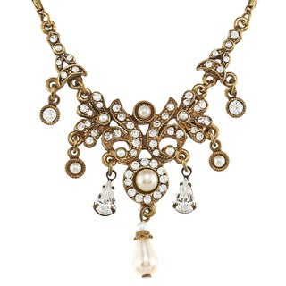 Sweet Romance Edwardian Vintage Crystal and Pearl Necklace