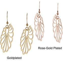 La Preciosa Goldplated Stainless Steel Openwork Fan Design Earrings