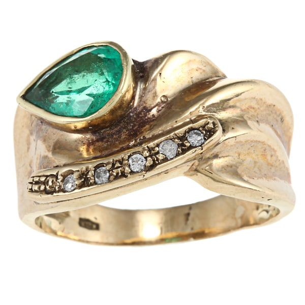 Pre-owned 18k Yellow Gold Emerald Estate Ring