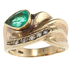 18k Yellow Gold Emerald Estate Ring