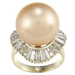 14k Yellow Gold 1-3/4ct TDW Pearl Ring (L-M, SI1-SI2)
