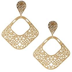La Preciosa Stainless Steel Open Square Earrings
