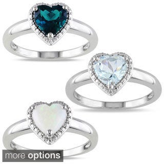 M by Miadora Sterling Silver Heart-shaped Gemstone Ring
