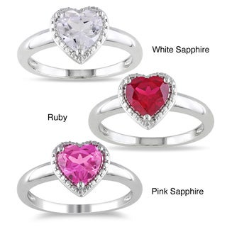 Miadora Sterling Silver Heart-shaped Created Gemstone Ring with Bonus Earrings