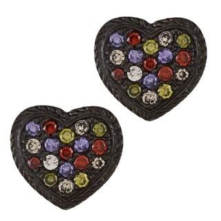 La Preciosa Sterling Silver Black Rhodium Earrings Heart and CZ Earrings