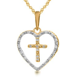 14k Gold 1/10ct TDW Diamond Cross in Heart Necklace (I-J, I2-I3)