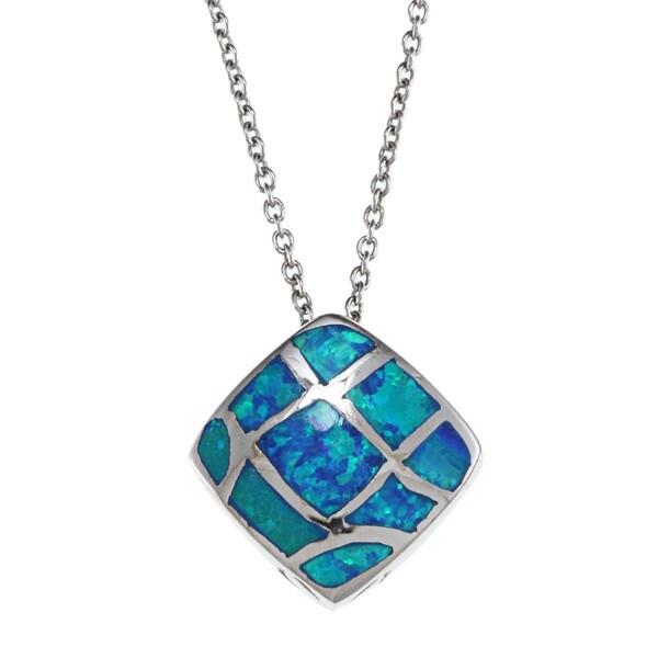 La Preciosa Sterling Silver Blue Opal Pendant