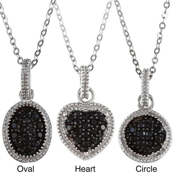 La Preciosa Sterling Silver Small Black CZ Pendant