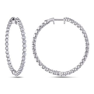 Miadora 14k White Gold 2 1/6ct TDW Diamond Hoop Earrings (G-H, SI1-SI2)