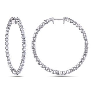 14k White Gold 2 1/6ct TDW Diamond Hoop Earrings (G-H, SI1-SI2)