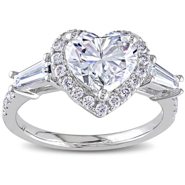 Miadora 14k White Gold 2 1/4ct TDW Certified Heart Diamond Ring (I, VS2)