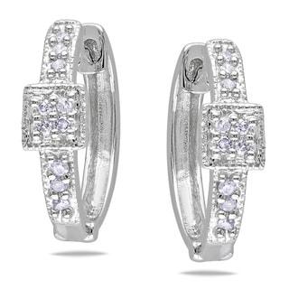Miadora 10k White Gold 1/10ct TDW Diamond Cuff Earrings (H-I, I1-I2)