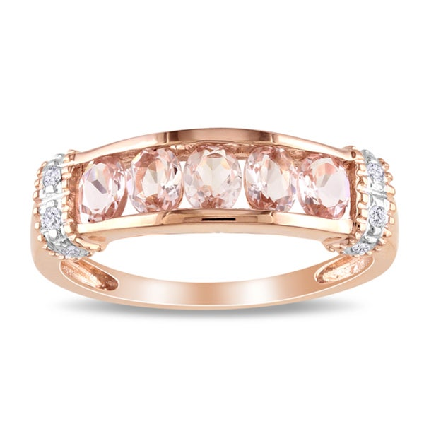 Miadora 10k Pink Gold 3/4ct TGW Morganite and Diamond Accent Ring