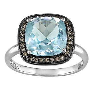 Miadora 14k White Gold 4ct TGW Blue Topaz and 1/10ct TDW Brown Diamond Ring