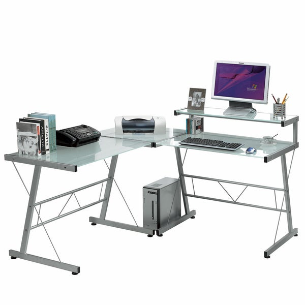 L-shaped Workstation with Frosted Glass Top