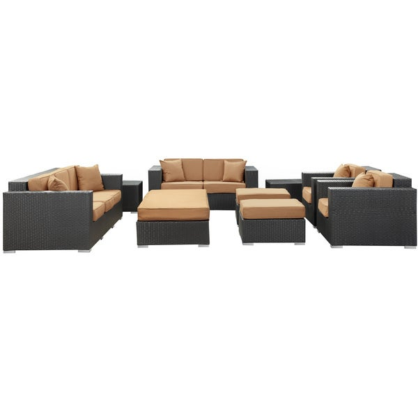 Eclipse Rattan Espresso with Mocha Cushions 9-piece Outdoor Set