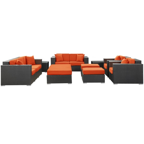 Eclipse Rattan Espresso with Orange Cushions 9-piece Outdoor Set