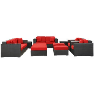 Eclipse Rattan Espresso with Red Cushions 9-piece Outdoor Set