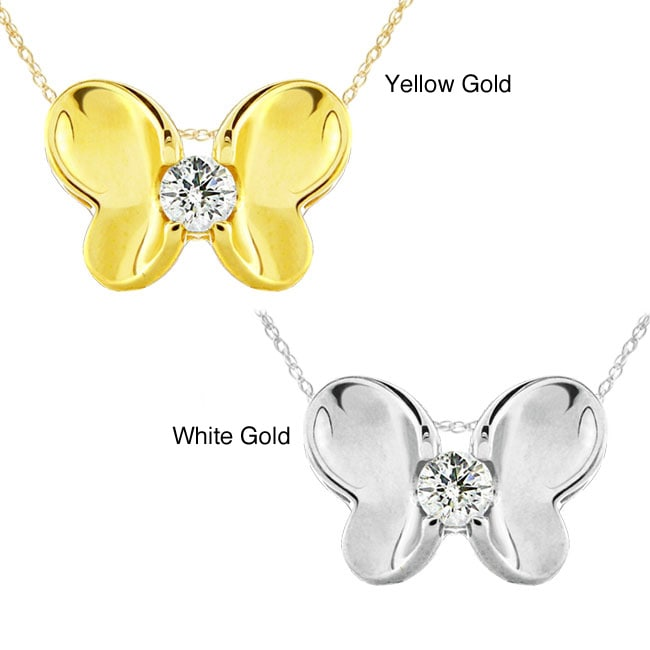 10k Gold Diamond Butterfly Necklace (G-H, SI1-SI2)