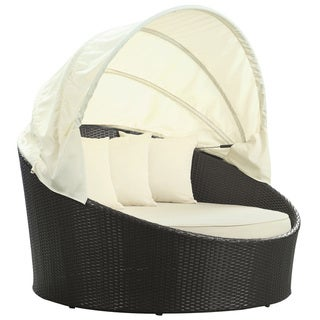 Siesta Outdoor Rattan Espresso with White Cushions Canopy Bed