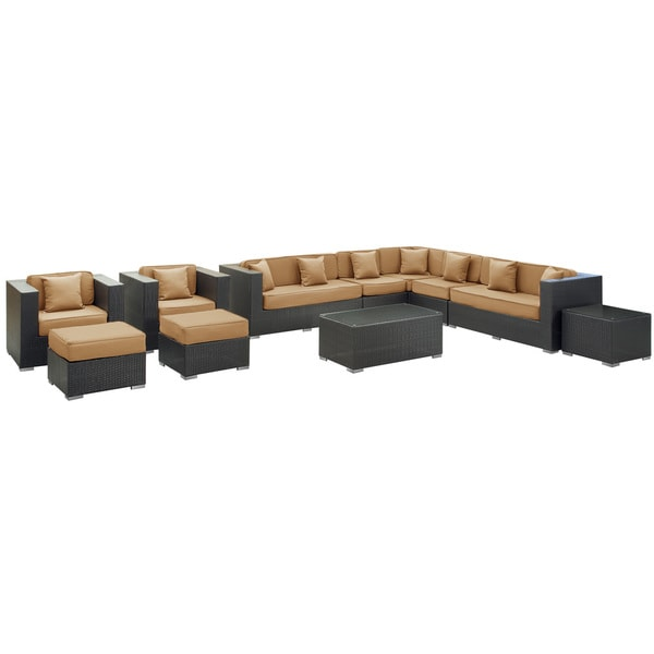 Cohesion Outdoor Rattan 11-piece Set in Espresso with Mocha Cushions