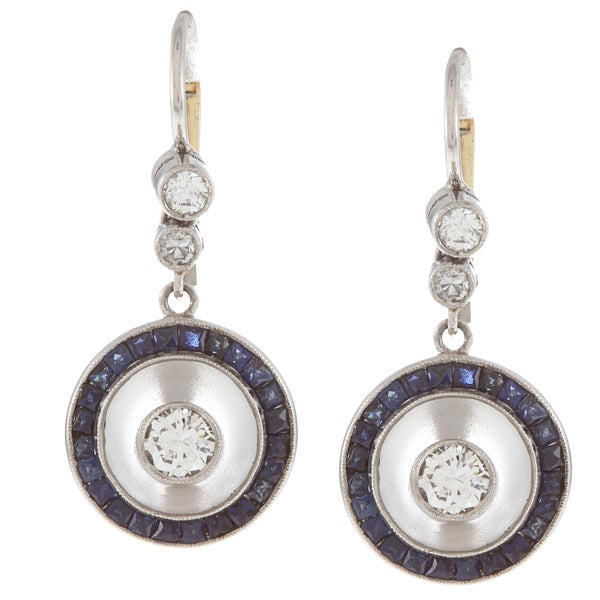 Pre-owned Platinum Sapphire and 3/5ct TDW Diamond Art Deco Carved Earrings (H-I, SI1-SI2)