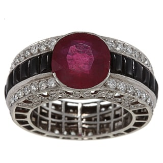 Platinum Ruby, Onyx and 3ct TDW Diamond Estate Ring (I-J, SI1-SI2)