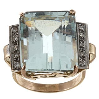 18k Gold Art Deco Aquamarine and 1/3ct TDW Diamond Estate Ring (I-J, SI1-SI2)
