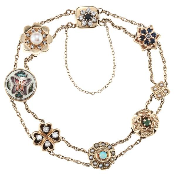 14k Gold Sapphire, 1/3ct TDW Diamond and Pearl Estate Bracelet (I-J, SI1-SI2)