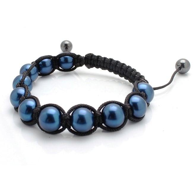 Men's or Women's Luster Blue Macrame Bracelet