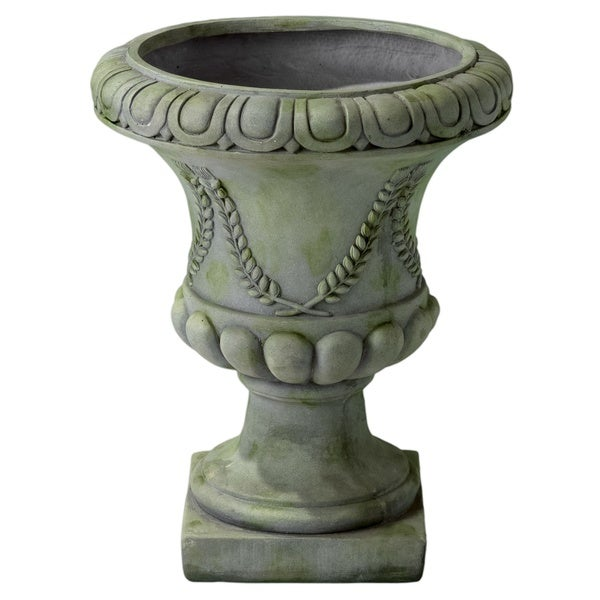 Christopher Knight Home Athenian 19-inch Grey with Green Moss Urn Planter