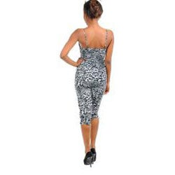Stanzino Women's Grey/ Black Spaghetti Strap Animal Print Romper