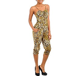 Stanzino Women's Ivory Brown Spaghetti Strap Animal Print Romper