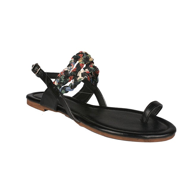 Neway by Beston Women's 'Halona' Black Toe-loop Sandals