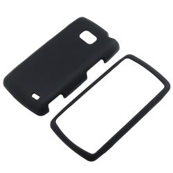 BasAcc Black Snap-On Rubber Coated Protective Case for LG Ally VS740