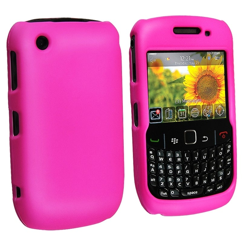 BasAcc Hot Pink Rubber Coated Case for BlackBerry Curve 8520/ 8530