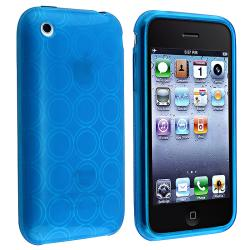 BasAcc Clear Blue Circle Shock-Absorbent TPU Rubber Skin Case for Apple iPhone 3G/3GS