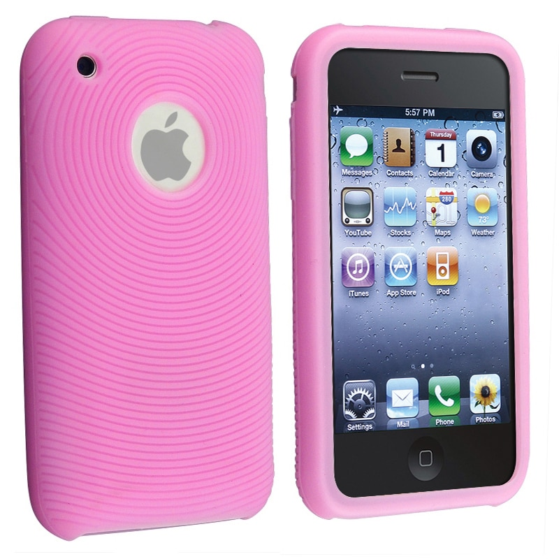BasAcc Baby Pink Textured Silicone Skin Case for Apple iPhone 3G/ 3GS