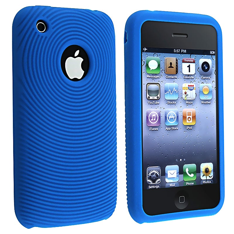 BasAcc Blue Textured Silicone Skin Case for Apple iPhone 3G/ 3GS
