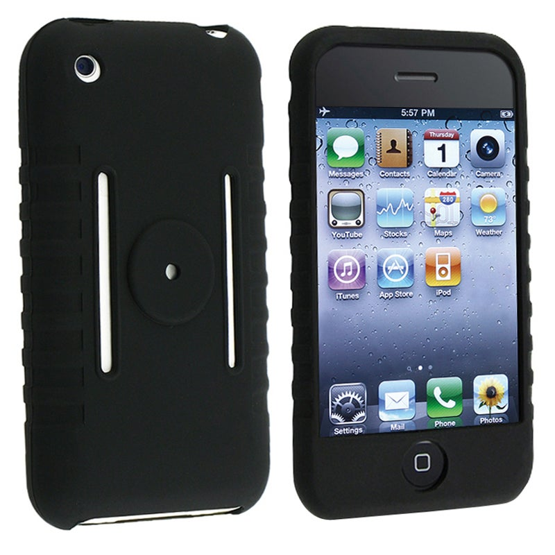 INSTEN Black Soft Silicone Skin Phone Case Cover for Apple iPhone 3G/ 3GS