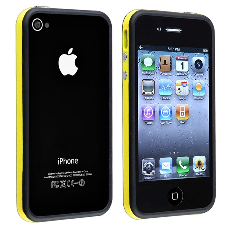 BasAcc Yellow TPU Bumper Case/ Aluminum Buttons for Apple iPhone 4/ 4S