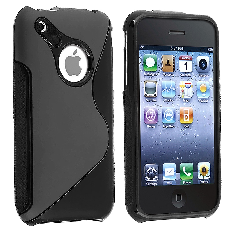 INSTEN Black S Shape TPU Rubber Phone Case Cover for Apple iPhone 3G/ 3GS