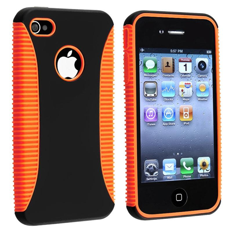 BasAcc Orange TPU/ Black Plastic Hybrid Case for Apple iPhone 4/ 4S